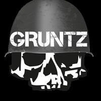 gruntz skull logo watermark